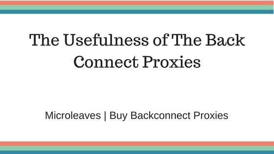 The Usefulness of The Back Connect Proxies