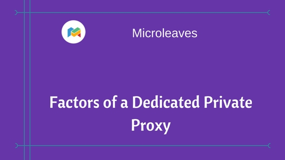 Factors of a Dedicated Private Proxy